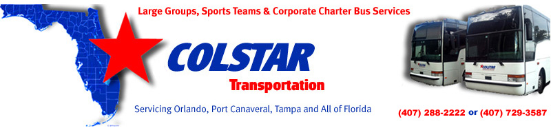 Orlando Airport, Port Canaveral and Tampa Airport charter bus services for large groups.